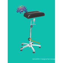 Support en acier inoxydable, réglage de 360 degrés du bras de tatouage et repose-jambes