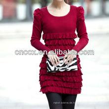 12STC0592 einfarbig plissiert sexy pullover kleid