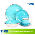20PCS Cheap Keramik Streifen Steinzeug handbemalt Dinner Set