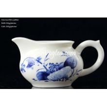 """200cc """"lotus"""" Pintura Azul & Branco Água cerâmica Pitcher"""