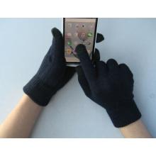 Gant de travail d'écran tactile noir de doigt du polyester cinq du revêtement 10g
