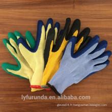 Jauge calibre 10 5 fils de gants en polycoton avec revêtement latex sur la paume