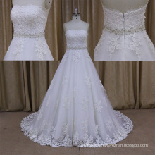 Factory Custom Made Lace Appliqued A Line Sweetheart Bridal Dress