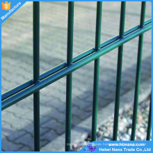Double wire mesh fence, Pvc coated twin wire 868 fence panel, green or black color twin wire double rod wire mesh fence for sale