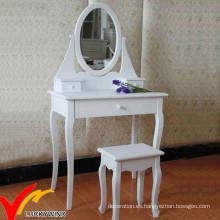 Blanco Aparador de madera simple de la vanidad del estilo francés antiguo