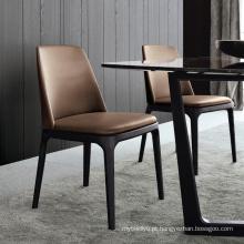 Cadeiras de mesa de jantar de mobiliário moderno Hotel PU assento cinza sólidas pernas de madeira cadeira de jantar