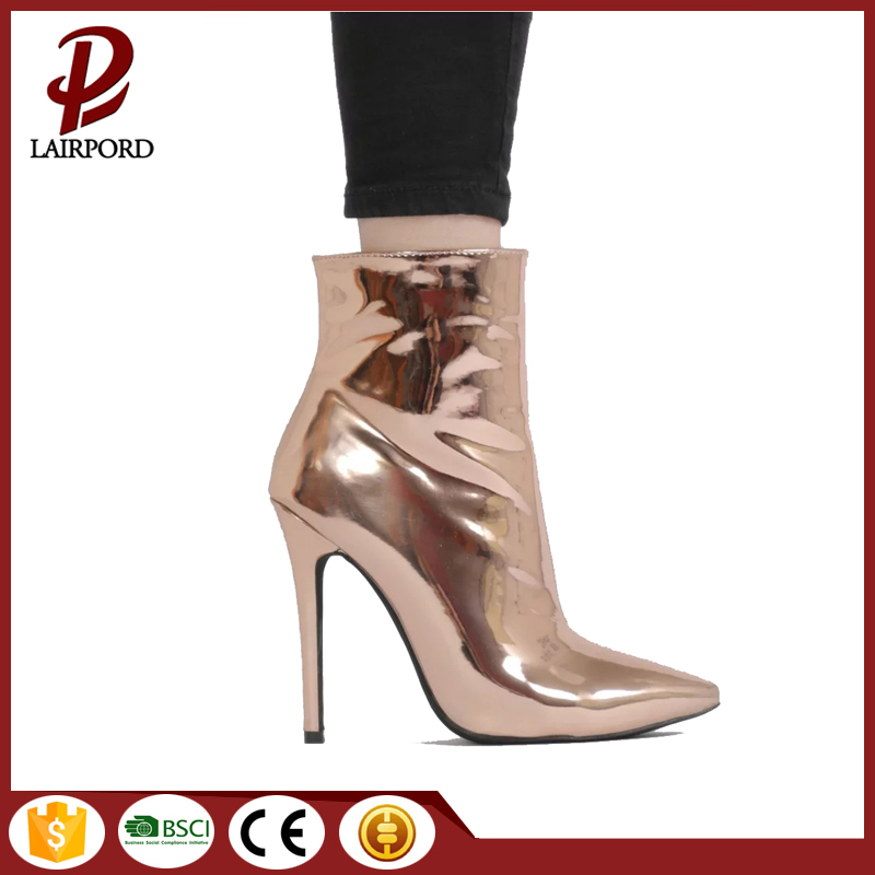 Gold plating PU women high heel boots