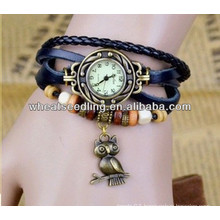 genuine cow leather bracelet watch women with owl pendent