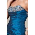 Elegante Mermaid decote Strapless Andar de comprimento cetim Ruffled Beading Evening Dress
