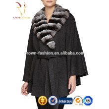 Cashmere Shawl with Fox Fur Tirm for Fall Winter