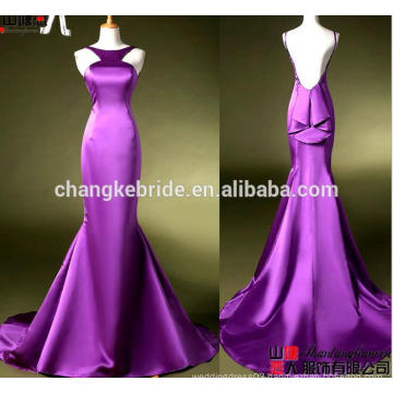 New Arrival Back Ruffles Mermaid Evening Dress Halter Neck Backless Party Dress With Train