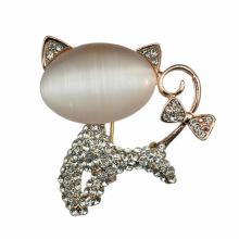 Broche de gato adorável moda opala banhado a ouro