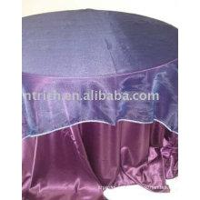 Paño de tabla del hotel, cubierta de la mesa redonda, mantelería de tela del satén, organza recubrimiento