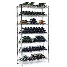 9 Bottle Adjustable Chrome Flat Metal Wine Rack (WR9035180C12C)