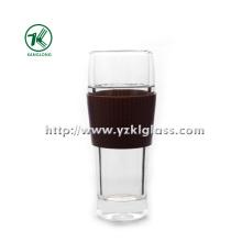 Двухстенная стеклянная бутылка от BV, SGS, (Dia7.7cm, H: 19cm, 390ml)