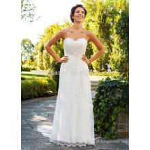 NA1017 Chic simples de uma linha Sweetheart Sweep Train Soft Lace vestido de casamento de praia 2015