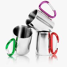 220ML Stainless Steel Coffee Mug With Carabiner Handle