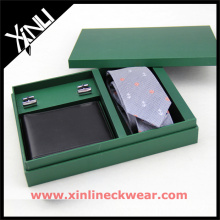 Packaging Wooden Box with Tie Wallet Cufflink Necktie with Gift Box