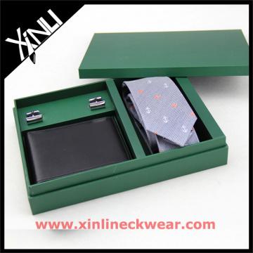 Packaging Wooden Box with Tie Wallet Cufflink Necktie with Gift Box