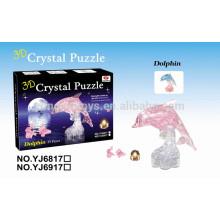 Rompecabezas popular del cristal 3D del delfín de DIY 39PCS con la luz