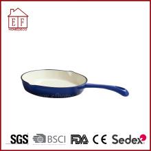 Blue Round Enamel Cast Iron Skillet