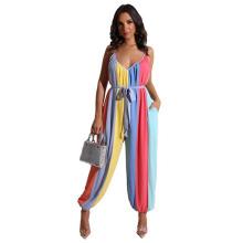 2021 European and American Summer Stripe Printed Women′s Jumpsuit