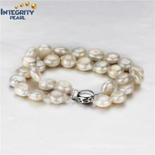925 Sterling Silber Süßwasser 9-10mm Münze Perle Armband Großhandel