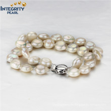 925 de plata esterlina de agua dulce 9-10mm moneda de la pulsera de perlas al por mayor