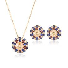 Brillante colorido de piedra chapado en oro conjunto de joyas redondas