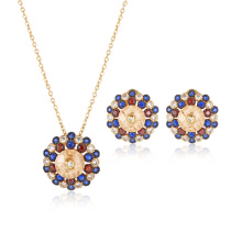 Brilhante colorido pedra banhado a ouro redondo conjunto de jóias
