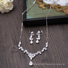 Wedding Bridal Silver Crystal Rhinestone Necklace Earring