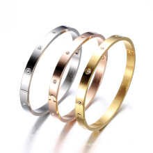 New arrival design zircon classic fashion stainless steel rose gold charm bracelet bangle gold
