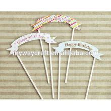 Party decoration colorful novelty banner pattern happy birthday paper cake topper