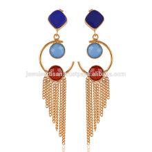 Lapis y Onyx oro plateado pendiente de moda