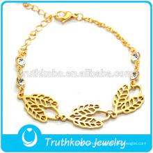 2016 Good Sale Gold-Plated Four-Leaved Clover A Leaf Shape Girls New Designer Bracelet