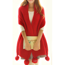 Womens Multiple Style Neck Warmer Thick POM POM Winter Knitted Scarf (SK126)