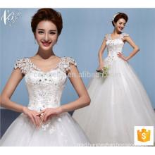 White bridal lace cap sleeve ball gown Princess wedding dress