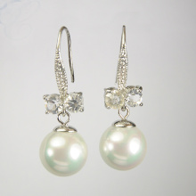 White Pearl Earrings with Diamonds