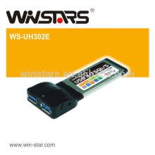 Cartão USB 2.0 Express, suporta dispositivos USB 2.0 e 1.1, adaptador de portas Super-Speed USB3.0