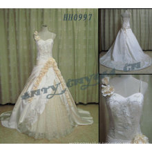 2011 quente venda Novas senhoras de design Elegante elegante Customized Real embororsingle cinta de espaguete Vestido de noiva vestido de bolaHH0997