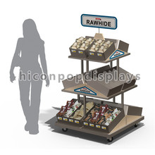 Único Knock Down Supermercado Wood Floor Banana Display Stand, Supermercado Display Stand Metal