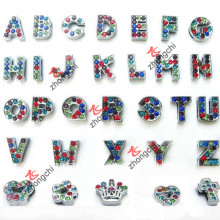 Bunte Strass Alphabet / Buchstaben Slide Charms für DIY Schmuck (SC-26)