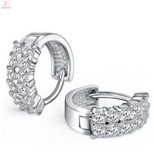 Brincos de diamante duplo de argola de prata esterlina 925 para mulheres
