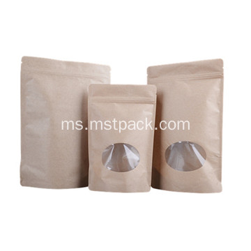Kraft Paper Upright Bag dengan Window