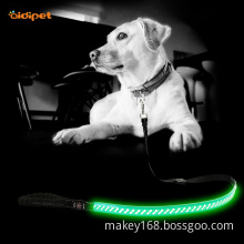 Durable Leather Glowing Up Led Dog Leash