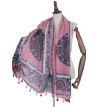 Hot selling national style scarf geometric pattern printed arab hijab scarf cotton voile tassel scarf