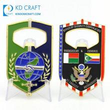 Wholesale Personalized Custom Made Bulk Metal Soft Enamel Decorative Country Flag Friendship Bottle Opener Challenge Coins No Minimum
