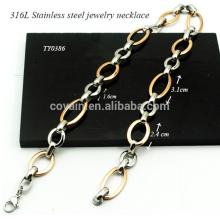 Kleine Silber Oval Link Große Rose Gold Oval Zwei Ton Edelstahl Oval Kette Halskette