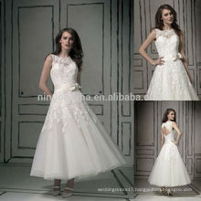 Top Quality 2014 Short Ball Gown Wedding Dress Jewel Neck Tea-Length Keyhole Back Lace Tulle Bridal Gown With Bow Sash NB0809