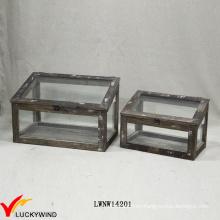 Reproducción Artesanal Chic Display Caja De Madera De Cristal